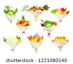 unusual bouquets of vegetables... | Shutterstock .eps vector #1221080140