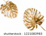 gold tropical palm leaves... | Shutterstock . vector #1221083983