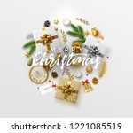 christmas greeting card with... | Shutterstock .eps vector #1221085519
