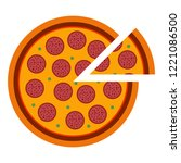 italian pizza pepperoni in flat ... | Shutterstock .eps vector #1221086500