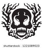 Black Liquid Skull. Black And...