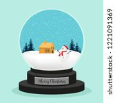 christmas ball with snow  house ... | Shutterstock .eps vector #1221091369
