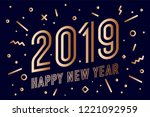 2019  happy new year  gold.... | Shutterstock .eps vector #1221092959