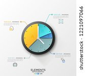 round pie chart or clock face... | Shutterstock .eps vector #1221097066