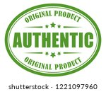 authentic green label on white... | Shutterstock .eps vector #1221097960