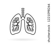 human lungs anatomy line icon... | Shutterstock .eps vector #1221098266