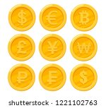 collection of golden coins.... | Shutterstock .eps vector #1221102763