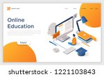 website with man sitting in...   Shutterstock .eps vector #1221103843
