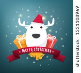 reindeer gifts for merry... | Shutterstock .eps vector #1221103969