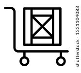 handcart with box line icon....   Shutterstock .eps vector #1221104083