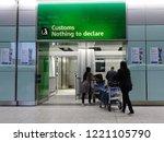 london heathrow airport  uk  ... | Shutterstock . vector #1221105790