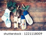 christmas rustic decorations... | Shutterstock . vector #1221118009