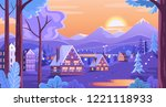 colorful winter sunset in the... | Shutterstock .eps vector #1221118933