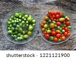 red and green tomatoes. let the ...   Shutterstock . vector #1221121900