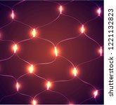 red glitter vintage lights... | Shutterstock .eps vector #1221132823