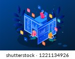 isometric programmer coding new ... | Shutterstock .eps vector #1221134926