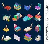 books vector stack of textbooks ... | Shutterstock .eps vector #1221136303