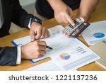 business team meeting present ... | Shutterstock . vector #1221137236