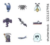 scare icons set. cartoon set of ... | Shutterstock .eps vector #1221137956