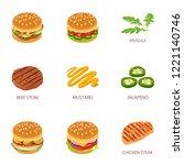 roast mincemeat icons set.... | Shutterstock .eps vector #1221140746