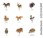 small beast icons set.... | Shutterstock .eps vector #1221141349