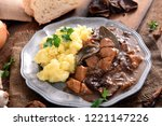 stew with meat  mushrooms and... | Shutterstock . vector #1221147226