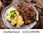 stew with meat  mushrooms and... | Shutterstock . vector #1221149296