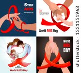 world aids day banner set....   Shutterstock .eps vector #1221151963