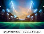 lights at night and stadium 3d... | Shutterstock . vector #1221154180
