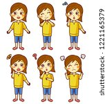 people emotion set character... | Shutterstock .eps vector #1221165379