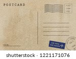 backside of blank postcard with ... | Shutterstock . vector #1221171076