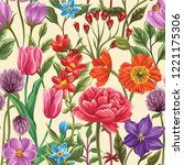 floral seamless pattern in... | Shutterstock .eps vector #1221175306