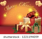 merry christmas text and... | Shutterstock .eps vector #1221194059