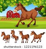horses at the farmland... | Shutterstock .eps vector #1221196123