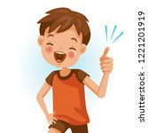 boy thumb up cartoon cute... | Shutterstock .eps vector #1221201919