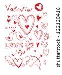 hand drawn doodle valentine's... | Shutterstock .eps vector #122120416