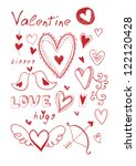 hand drawn doodle valentine's... | Shutterstock . vector #122120428