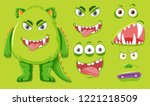 green monster with different... | Shutterstock .eps vector #1221218509