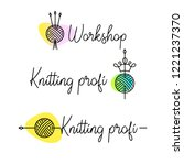 knit workshop  creative course  ... | Shutterstock .eps vector #1221237370