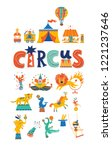 Big Circus Set In Cartoon Style....
