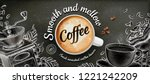 coffee banner ads with 3d... | Shutterstock .eps vector #1221242209