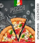 pizza poster ads with 3d... | Shutterstock .eps vector #1221242230