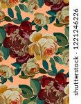 vintage floral seamless... | Shutterstock .eps vector #1221246226