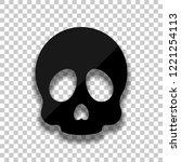 simple skull icon. black glass... | Shutterstock .eps vector #1221254113