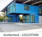 modern blue cutting edge... | Shutterstock . vector #1221257680