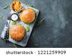 tasty grilled home made burger...   Shutterstock . vector #1221259909