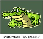 funny gator cartoon mascot | Shutterstock .eps vector #1221261310