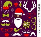 retro party set   santa claus... | Shutterstock .eps vector #122126734