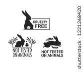 set animal logo cruelty free.... | Shutterstock .eps vector #1221268420