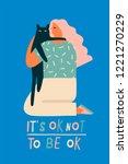 woman hugging a cat...   Shutterstock .eps vector #1221270229